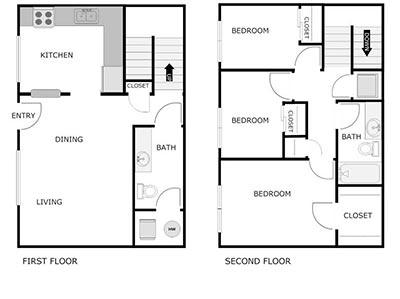 3 bed, 1.5 bath townhome floor plan
